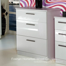 Utilitarian Bedroom High Gloss 3 Drawer Chest Cabinet (HC22)
