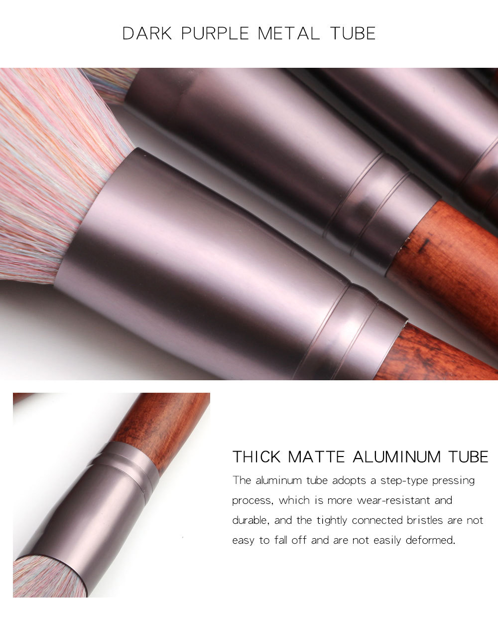 11 Piece Animal Hair Makeup Brush aluminium tube