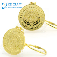 High quality personalized custom metal embossed logo 3D national country georgia association chiefs challenge coin keychain