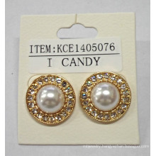 White Pearl Earring with Metal Wholesale