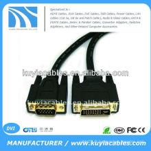 Câble double dvi-D noir nickelé de 5 pi au fil vga