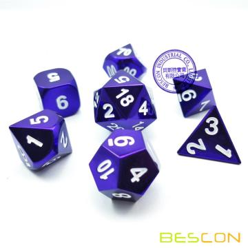 Bescon 7pcs Set Heavy Duty Metal Dice Set Glossed Color of Purple, Colorful Solid Metallic Polyhedral D&D Dice Set Violet