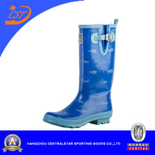 Fashion Anti-Slip blue Ladie Rubber Rain Boots (68053)