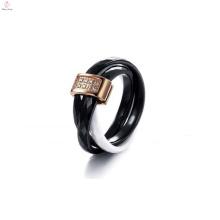 2015 Weihnachtsgeschenk, schwarz und weiß tricyclischen, Kristall gepflasterten Keramik-Ring für Frauen