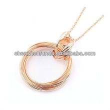 Fashion rose gold plated Pendant Double Round Ring Pendant Necklace for women Manufacture