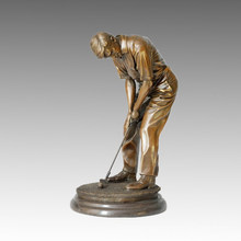 Sports Statue Golf Male Bronze Sculpture, Milo TPE-026