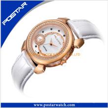 Multifunktionale Saphirglas Perle Uhren Elegance Damen Lederband Uhr
