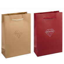 Custom luxury shopping carry packaging reusable paper bag with cotton rope handle