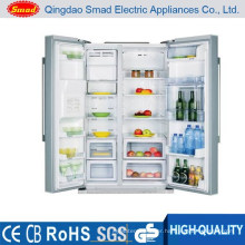 stainless steel refrigerator with icemaker water dispenser and mini bar