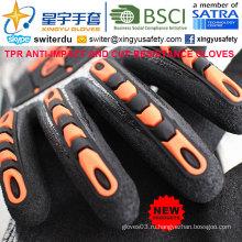 Перчатки с защитой от порезов и противокейтов, 18 г Hppe Shell Cut-Level 3, Sandy Nitrile с покрытием лаком, анти-ударный TPR на спине Механические перчатки