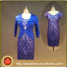 RASA-05 Classic Royal Blue Sheath Formal Evening Gown with Jacket Crystal Long Sleeve Evening Dresses Short