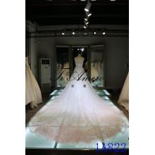 Sweetheart Soft Net Wedding Dresses with Long Train