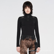 PUNK RAVE steampunk girls sexy dark series women long sleeve knitted bodycon wholesale black T-shirt