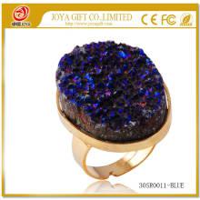 Metal ajustable plateado Oro Tamaño de la piedra preciosa 25x35mm Anillos de oro con piedra natural de Druzy Ágata de cristal