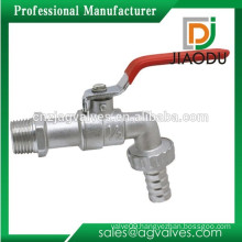 """Factory high quality 1/2""""or 3/4"""" forged nickel plated brass bathroom water bibcock with hose unin and red steel handle"""