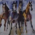 Домашнее украшение ручной работы на холсте Домашнее украшение диких лошадей (EAN-377)