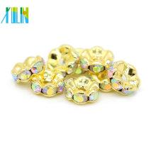 Venda quente IA0206 Chapeamento De Ouro De Metal De Cobre AB Cor Rhinestone Spacer Beads Para Venda