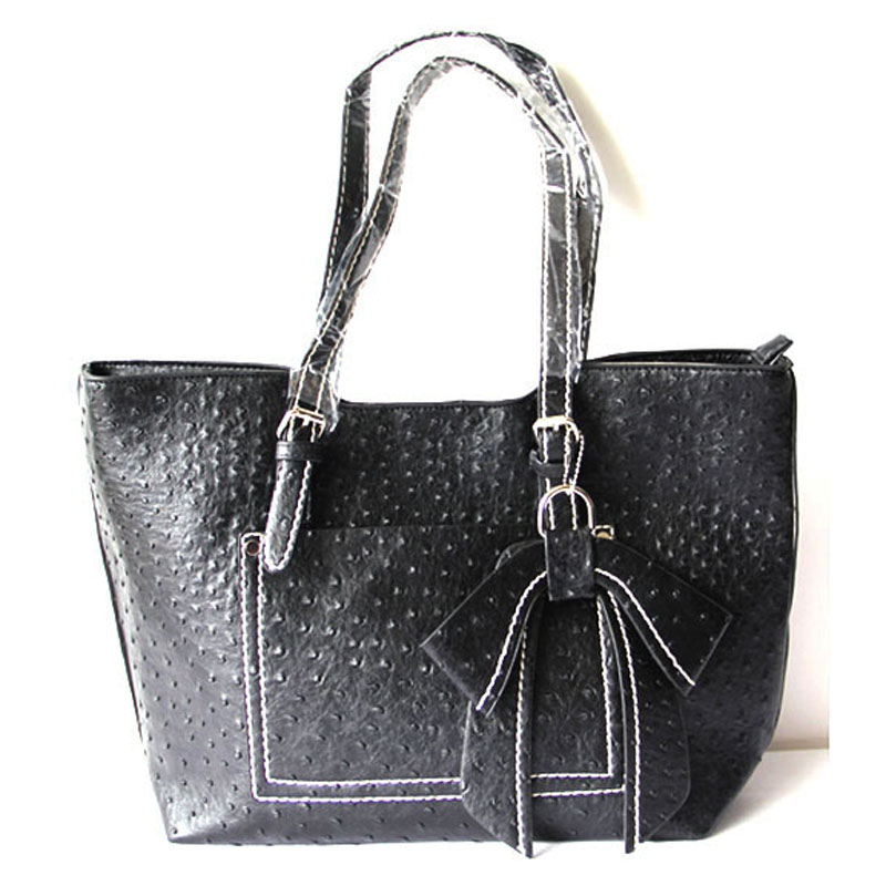Black Womens Leather Tote