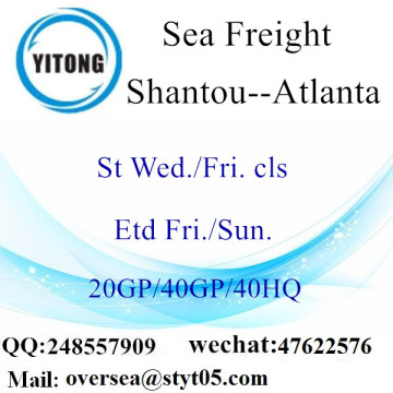 Expédition de fret maritime du port de Shantou à Atlanta