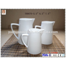 "5.5"" 6.5"" 7.5"" Different Size White Ceramic Milk Jug water jar"