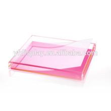 Klare Acryl Serviertablett Obstschale mit rosa Farbdruck auf der Basis