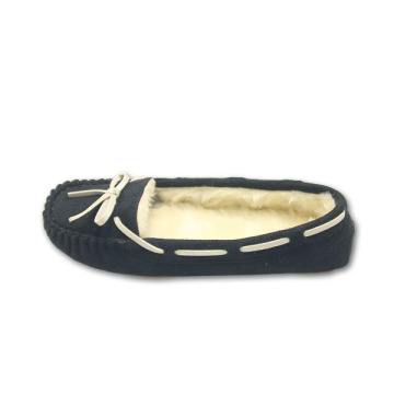 black moccasins home slippers for womens