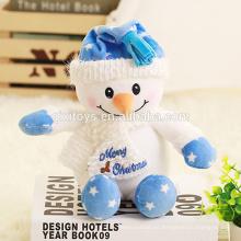 Muñeco de nieve divertido hecho a mano del juguete de la felpa de la Navidad