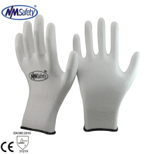 NMSAFETY cheap white pu coated safety garden working gloves
