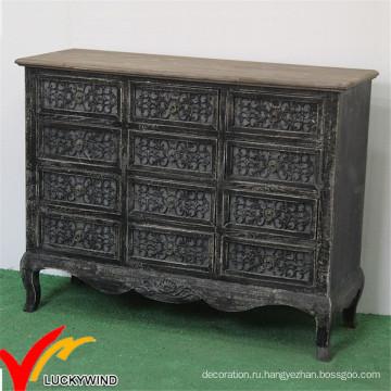 Комод ручной работы черный домашний кабинет Vintage французская мебель для гостиной