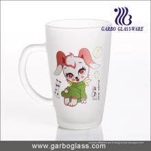 Tasse / tasse de verre givré en carton, tasse / tasse en verre imprimé, impression en verre Mug (GB094212-DR-109)
