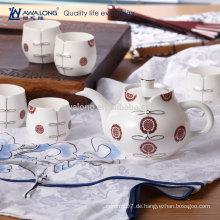 7pcs roter Cheongsam Entwurfs-feiner keramischer chinesischer Art-Tee-Satz, Transparenztee-Satz