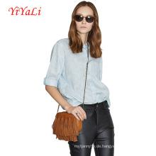 Frauen Mode Leinen Baumwolle Kurzarm Shirt