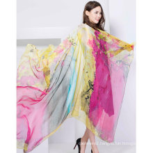 100% Silk Digital Print Shawl X-Large Over Sized Silk Scarf Fashion Silk Chiffon Shawl