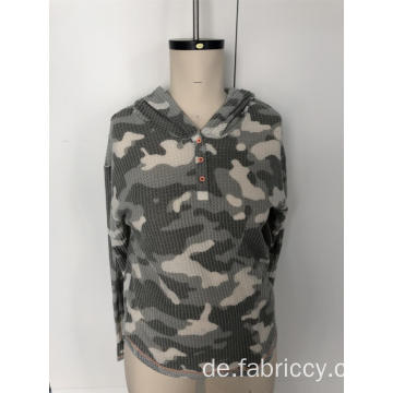 Camo Button Hoodie Pullover