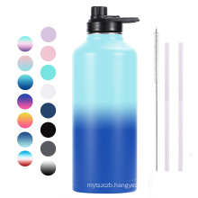 Double Walled Wide Mouth 304 Stainless Steel Vacuum Flask 80oz Sports Water Bottle with Flex Lid