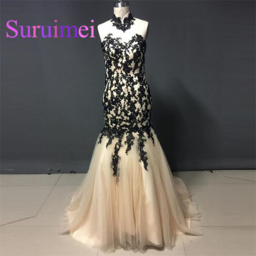 Free Shipping 2017 High neck Prom Dresses with Appliques Lace Formal Evening Gowns