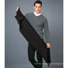 100% Bufanda de lana de los hombres en color sólido Jacquard lana bufanda