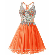 Real Photo Puffy Sexy Layered Heavy Crystals Orange Short Cocktail Dresses MC2568