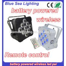 Casamento 9x18w rgbwa uv 6in1 bateria sem fio conduzida luz par