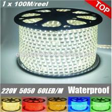 High Voltage Outdoor SMD 5050 100m/roll led strip light 220-240v