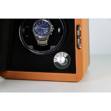 Single Watch Winding Case Dengan Microfiber Leather