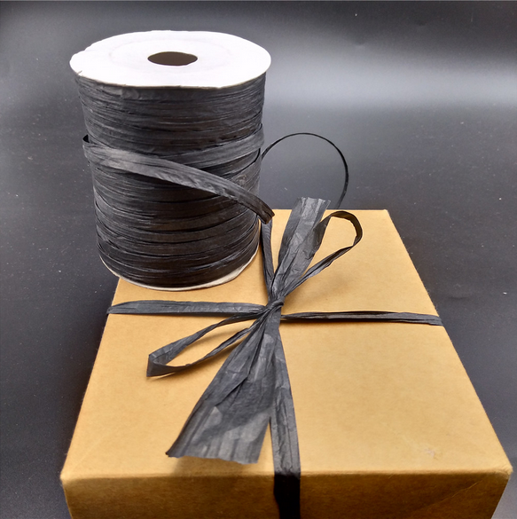 black paper raffia ribbon
