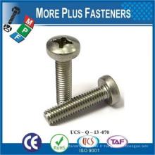 Fabriqué en Taiwan ISO 7045 Phillips Pan Head Machine à vis H Acier Zingué