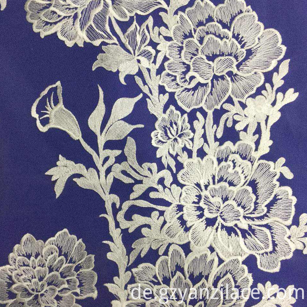 White Flower Embroidered Lace Fabric