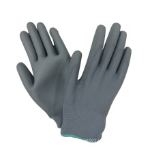 Grey PU Palm Coated Polyester Shell Hand Protective Work Gloves