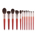 12 Stück rotes Make-up Pinsel Set