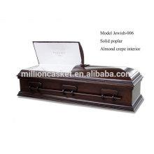 Joia da fábrica judeu-006 personalizado poplar sólidos cremação judeu caixão china