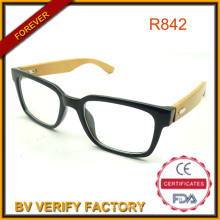 Bamboo Arm Readers with Shinny Black Plastic Frame Wholesale China Manufacturer R842