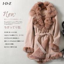 Новый дизайн Леди Натуральная стрижка кожи и меха куртка длинные Стиль мех лисы