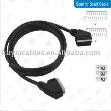 Câble Scart to Scart de 1,5 mètre 1.5 m / m pour DVD TV noir
